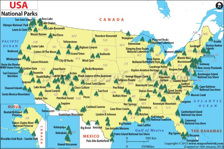 Us National Parks Map World Map - Us map of national parks