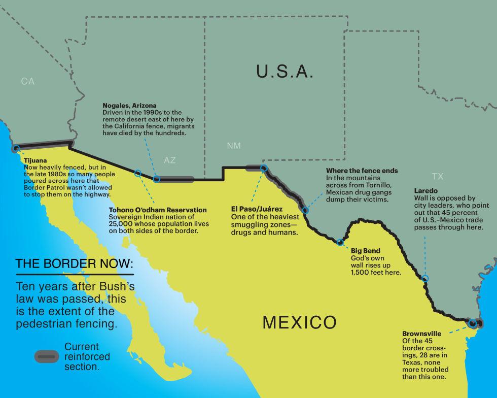 The Environmental Implications Of Trumps Border Wall Along Mexico - Map of border fence us mexico